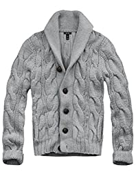 Mens Cali Holi Cable Knit Shawl Collar Cardigan Style Sweater Grey US XL