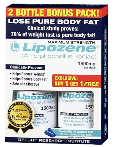 Lipozene - konjac Amorphophallus maximum Force Bonus Fat Loss Supplement 2 bouteilles de 1500 mg.