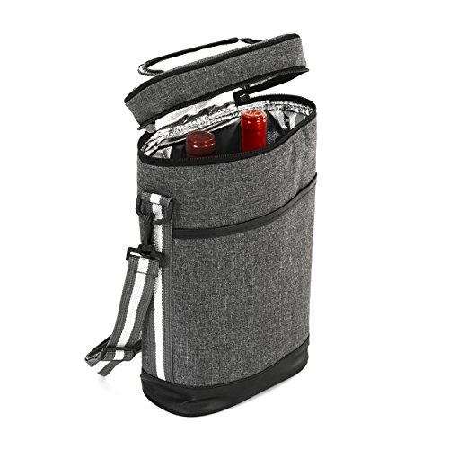 2 Wine Tote Carrier - Insulated Portable Picnic Cooler Bag for 2 with Shoulder Straps and Outside Pocket in Gray –Wine Travel Bag Perfect for Picnic Camping Beach Park Travel Parties Wedding Concerts (Cheese Wine Cooler)