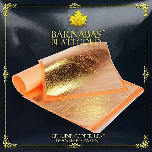 Genuine Copper Leaf Sheets - by Barnabas Blattgold - 25 Sheets - 5.5 inches Booklet - Transfer Patent - Card Frame Curved Silver Place