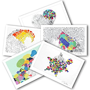 adult kid coloring postcards variety pack 2 each of 5 sea glass series