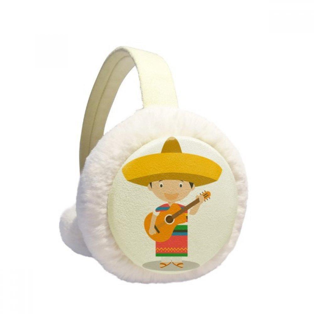 Hat Guitar Mexico Cartoon Winter Earmuffs Ear Warmers Faux Fur Foldable Plush Outdoor Gift