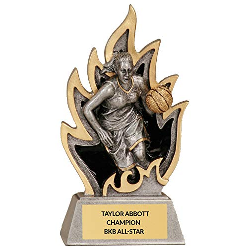 Basketball Trophy - 5 1/2 inch Personalized Resin Flame Female Basketball Award