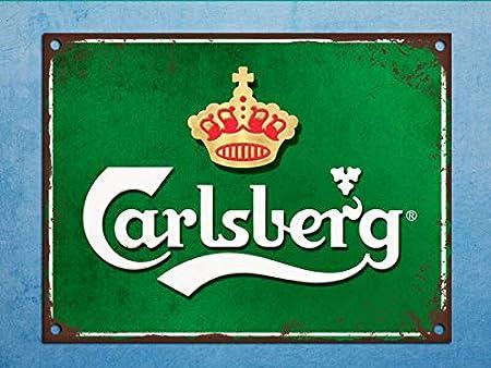 Yilooom Placa de Metal Estilo Retro Carlsberg Cerveza Mancave Lata para Puerta de Pared, Aluminio, 8