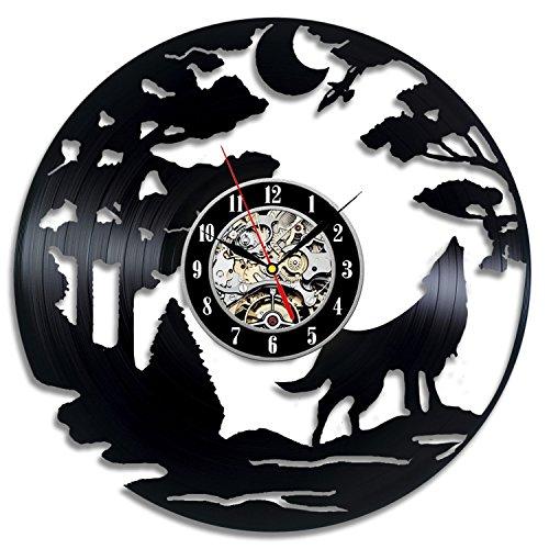 Wolf Gift Vinyl Record Designed Wall Clock