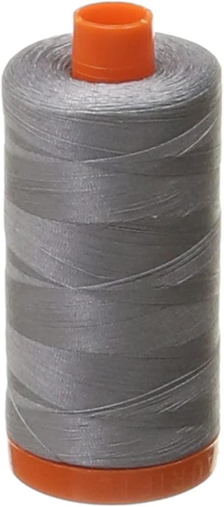 Aurifil Mako Cotton 50wt Thread Solid Grey 1422 Yard each 3-PACK