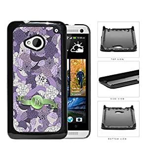 Pretty Purple Lilac Floral Flowers Pattern LETTER INITIAL MONOGRAM Green Stripe Banner HTC one M7 Hard Snap on Plastic Cell Phone Case Cover