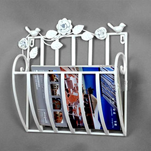 Wall mounted newspaper and magazine rack Hanging basket Metal magazine rack,For home bathroom office-White 30x13x30cm(12x5x12)