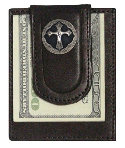 Custom Ornate Cross Paul and Taylor Money Clip Wallet Brown (Mens Boots Celtic)