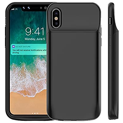 Vproof iPhone X Battery Case 6000mAh, Rechargeable External Battery Portable Power Charger Protective Charging Case for Apple iPhone X (5.8 Inch) (Black)