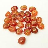 Orange Karneol Stein Rune Set Tumble Edelstein Reiki Healing Samtbeutel 25PC
