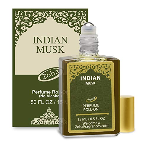 Indian Musk Perfume Oil Roll-On (No Alcohol) aka Majmua Fragrance Oil - Essential Oils and Perfumes for Women and Men by Zoha Fragrances, 15 ml / 0.50 fl Oz