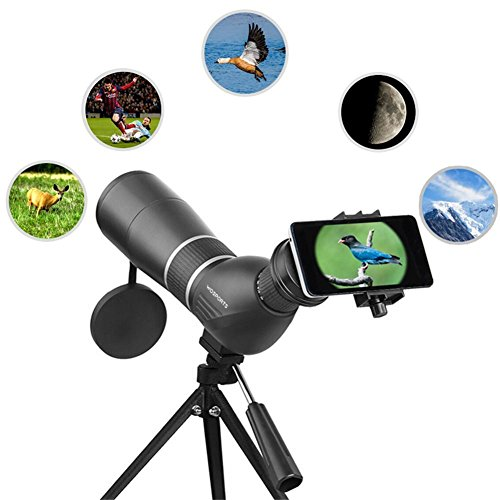 Spotting Scope,15-45X60 Waterproof Monocular Telescope Bird Watching Outdoor Viewing with Tripod and Digiscoping Adapter by Wosports