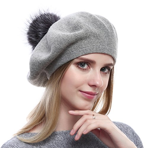 Vemolla Women Winter Warm Wool Beret with Real Silver Fox Fur Pom Pom