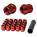20pc Red Spline Drive Lug Nuts - 12x1.25 Thread Size - 1.4'' Length - Open End - Cone Acorn Taper Seat - Includes 1 Socket Key Tool - For Nissan Infiniti Subaru Scion FRS FR-S + More