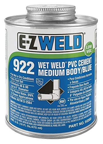 (Ez Weld Cement, Blue, 16 oz., for PVC, Schedule 40 and 80 Pipes and Fittings Up To 8