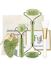 Xiuyan Jade Roller Guasha Set FYL 4-in-1 Authentic Massage Facial Roller for Skin, Eyes, Neck with Fridge Storage Case