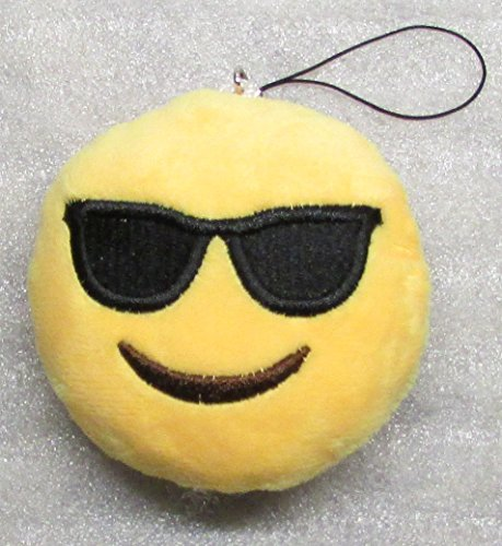 Emoji 3 in SUNGLASSES Emoticon COOL Soft Cloth Yellow KEY CHAIN Keychain - Emoticon Sunglasses