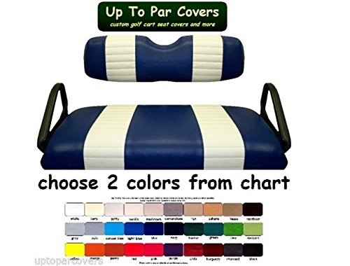E-Z-Go RXV Custom 2-Stripe Golf Cart Seat Cover Set Made with Marine Grade Vinyl - Staple On - Choose Your Colors From Our Color Chart! by Up To Par Covers