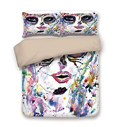 Duvet Cover Set,Back of Khaki,Sugar Skull Decor,Halloween Girl with Sugar Skull Makeup Watercolor Painting Style Creepy Decorative,Multicolor,Decorative 3 Pcs Bedding Set by 2 Pillow Shams,Full -
