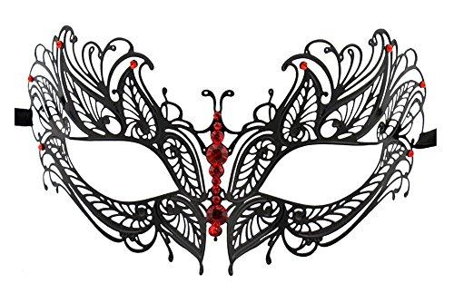 Luxury Mask Women's Laser Cut Metal Venetian Butterfly Design Metal Mask, Black/Red Stones, One Size