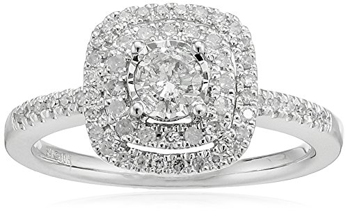 Double Frame Ring (10k White Gold Diamond Double Frame Halo Ring (1/2cttw, I-J Color, I2-I3 Clarity), Size)