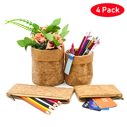 Pencil Pen Cup Holder Bag Case, Coin Purse, Organizer Storage Bin for Office School Purse Small ECO Cork Wood 4 Pack