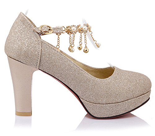 Easemax Womens Stylish Rhinestone Round Toe Platform High Chunky Heel Buckle Strap Pumps Shoes Gold zjWMFcN