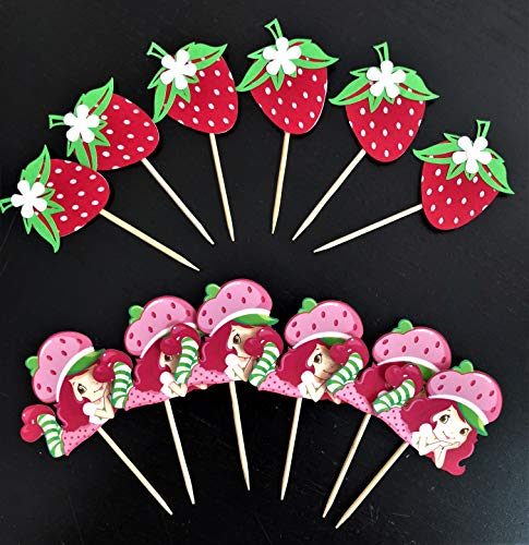 Set of 12 Strawberry Shortcake Themed Cupcake Toppers (Strawberry Shortcake Birthday Banner)