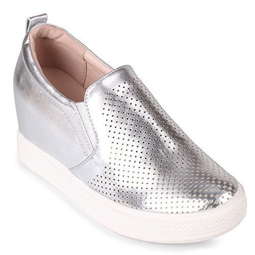 Wanted Fashion Slip Cascade Silver On Wedge Sneaker rWOrIqB