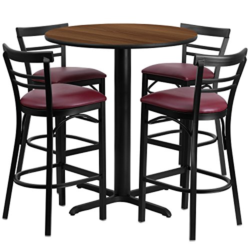 Flash Furniture 24'' Round Walnut Laminate Table Set with 4 Ladder Back Metal Barstools - Burgundy Vinyl Seat - Laminate Pub Table
