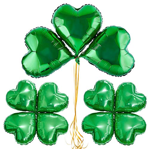 Whaline Creative Shamrock Balloons 20 PCS St Patricks Balloons Green Aluminum Foil Party Balloons with 60 Pieces Dot glue for Irish Day Celebration Decoration -