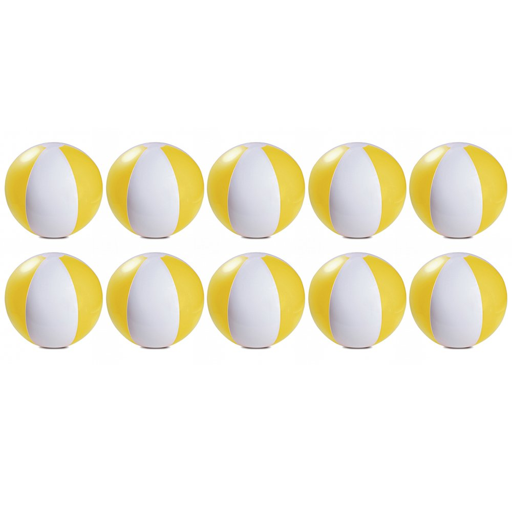 eBuyGB Pack of 10 Inflatable Colour Ball - Beach Pool Game, Yellow, 22 cm/9''
