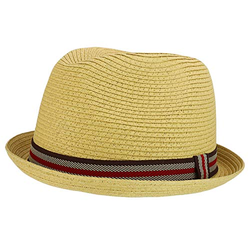 Armycrew Men's XXL Oversized Stingy Brim Paper Braid Fedora with Striped Band - Natural - 2XL