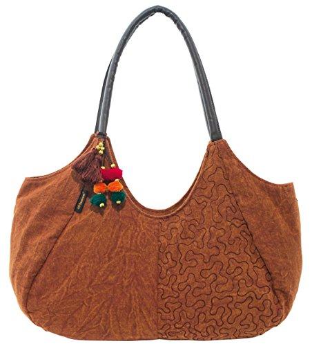 Sunsa Damen Shopper Tasche Canvas Tasche Schultertasche 38-60x26x13 cm (rostrot)
