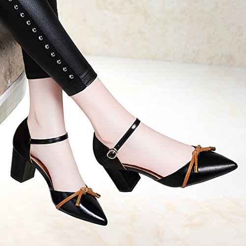 estilo tacon zapatos pequeños mujer Transpirable nuevo Moda verano con alto talon black grueso de fresca fondo Baotou elegante Sandalias AJUNR grueso de qPOxZ8xw
