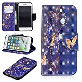 Flip Wallet Case for iPhone 7,iPhone 8 Case,Yobby Slim Premium PU Leather Case with 3D Colorful Pattern Design Card Slots and Magnetic Closure Stand Shockproof Cover-Purple Butterfly