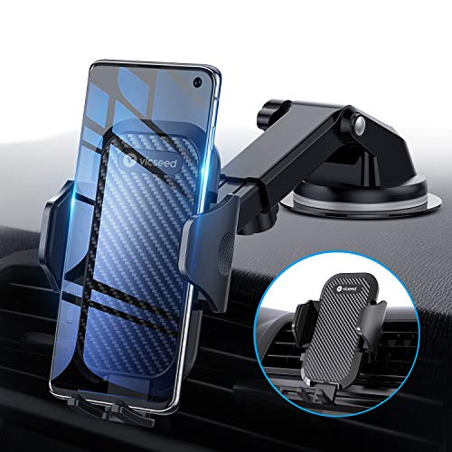 Universal Car Phone Mount VICSEED Car Phone Holder for Car Dashboard Windshield Air Vent Adjustable Long Arm Strong Suction Cell Phone Car Mount Fit for iPhone X XS Max XR Samsung Galaxy Note 10 S10