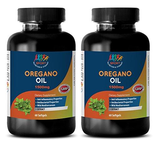 Anti-viral supplement - OREGANO OIL EXTRACT (1500mg) - Oil of oregano wild mediterranean - 2 Bottles 120 Softgels (Best Oil Of Oregano For Herpes)