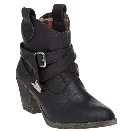 Rocket Dog Womens Satire Slick Winter Western Cowboy Mid Heel Ankle Boot - Black - 6