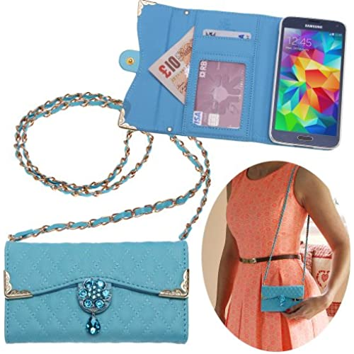 Xtra-Funky Range Samsung Galaxy S7 Luxury Faux Leather Quilted Handbag Purse Case with Carry strap and Beautifully Decorated Crystal Flower - Blue (Includes a Sales