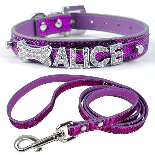 (Didog Personalized Dog Collar & Leash - Glitter PU Leather Made - 4 Foot Lead Length - Customized Pet Name,Crystal & Sparkly Rhinestones Letters & Bling Charms,Purple 3/4