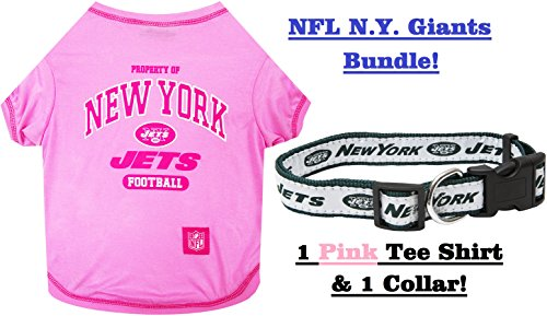 Cheerleader Jock Costume - NFL New York Jets PET COLLAR & PET TEE SHIRT, Bundle. ▬ New York Jets Dog Shirt & Collar. ▬ Football Pet T-Shirt. ▬ Football Pet Collar. ▬ NFL COLLAR. ▬ NFL T-SHIRT. (Small)