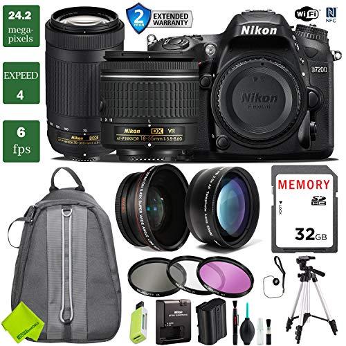 - Nikon D7200 DSLR Camera 18-55mm VR Lens Bundle (18-55mm VR & Nikon 70-300mm, 2 Year Extended Warranty)