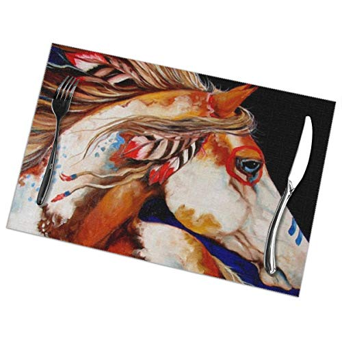 KMYUROOL Placemat 30 Paint Horses Insulation Stain Resistant Kitchen Table Mats for Dining Table Set of 6