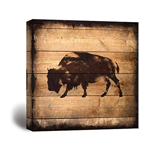 Square Yak Silhouette on Rustic Wood Board Texture Background