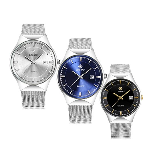 Price comparison product image Mens Womens Dress Wrist Watch, Stainless Steel Band Analog Quartz Unique Business Casual Classic Design Calendar Date Window (Pack with 3)