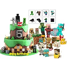 Minecraft Figure Cake & Cupcake Toppers And Temporary Tattoos 56 pcs