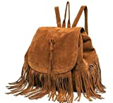 Di Grazia Women'S Backpack Handbag (Brown, Brown-Suede-Tassel-Backpack)