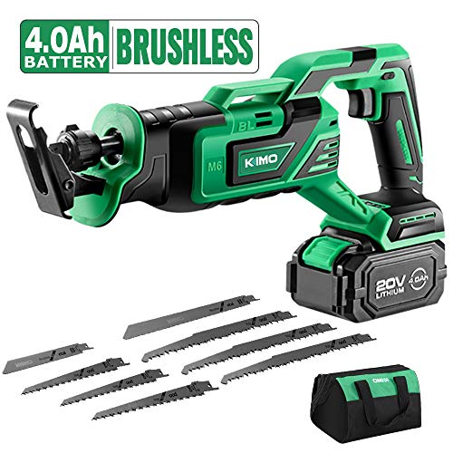 KIMO 20V 4.0Ah Li-ion Brushless Cordless Reciprocating Saw w/Battery & 1 Hour Fast Charger, Stepless Variable Speed, 1″ Stroke Length, Tool-Free Blade Change, 8 Saw Blades for Wood & Metal Cutting